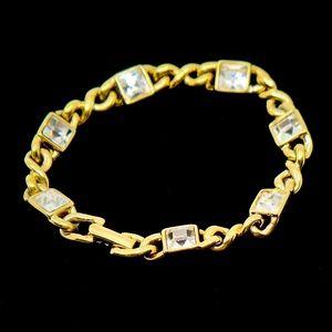 SWAROVSKI~crystal~14kT GOLD pl TENNIS BRACELET